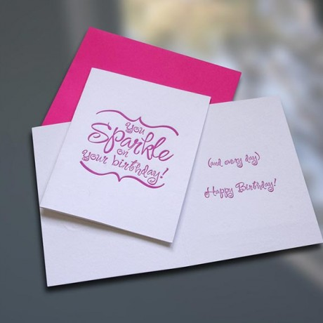 Sparkle Letterpress Birthday Card - Sky of Blue Cards - $4.50