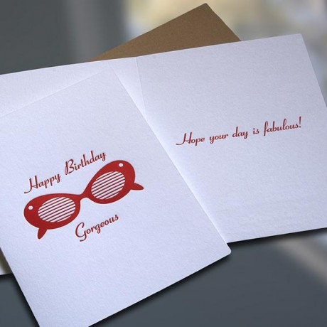 Sunglasses Letterpress Birthday Card - Sky of Blue Cards - $4.50