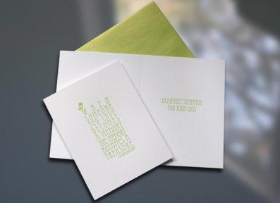 Sympathy Birdie Letterpress Card – Sky of Blue Cards – $4.50