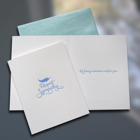Sympathy Feather Letterpress Card - Sky of Blue Cards - $4.50