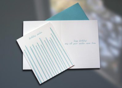 Tall Candles Letterpress Birthday Card – Sky of Blue Cards – $4.50