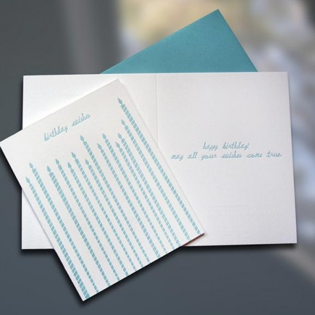 Tall Candles Letterpress Birthday Card - Sky of Blue Cards - $4.50