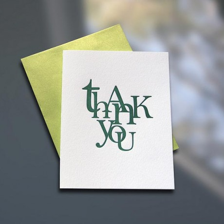 Thank You Stacked Letterpress Card - Sky of Blue Cards - $4.50