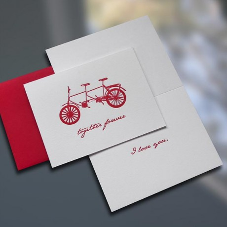 Together Forever Bike Valentine's Day Card - Sky of Blue Cards - $4.50 each