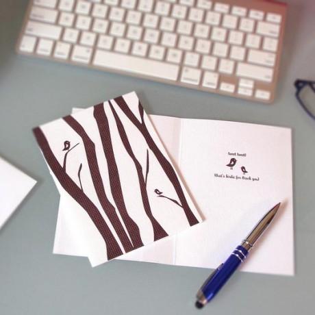 Trees Tweet Tweet Letterpress Thank You Card - Sky of Blue Cards - $4.50 single $18 boxed set of 8