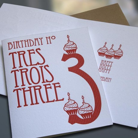 Tres-Trois-Three Letterpress Birthday Card - Sky of Blue Cards - $4.50