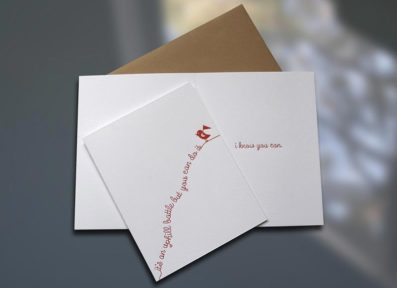 Uphill Birdie Letterpress Card – Sky of Blue Cards – $4.50