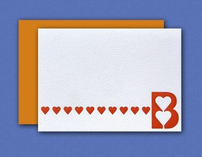 """""""B"""" Monogram Letterpress Note Cards – Sky of Blue Cards – Set of 6 $16.00"""