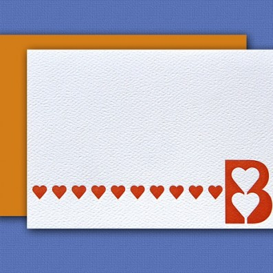 """B"" Monogram Letterpress Note Cards – Sky of Blue Cards – Set of 6 $16.00"