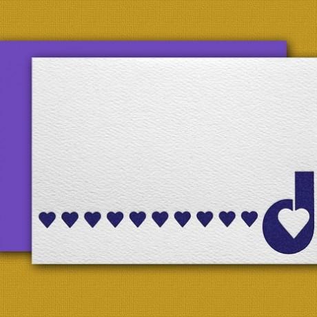 """""""D"""" Monogram Letterpress Note Cards - Sky of Blue Cards - Set of 6 $16"""