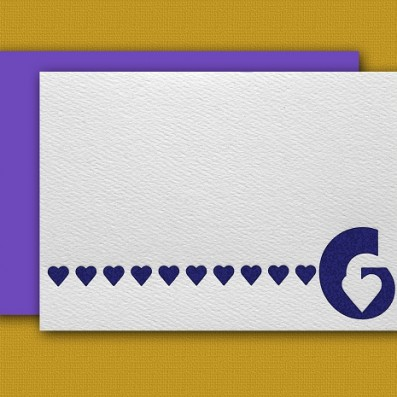 """""""G"""" Monogram Letterpress Note Cards – Sky of Blue Cards – Set of 6 $16"""