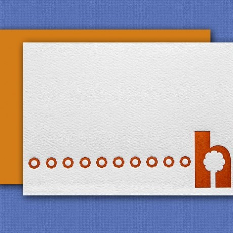 """""""H"""" Monogram Letterpress Note Cards - Sky of Blue Cards - Set of 6 $16"""
