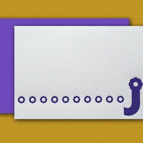"""""""J"""" Monogram Letterpress Note Cards - Sky of Blue Cards - Set of 6 $16"""