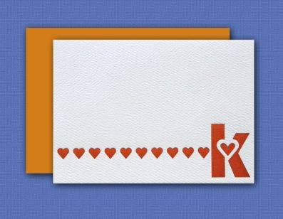 """K"" Monogram Letterpress Note Cards – Sky of Blue Cards – Set of 6 $16"