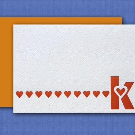 """""""K"""" Monogram Letterpress Note Cards - Sky of Blue Cards - Set of 6 $16"""