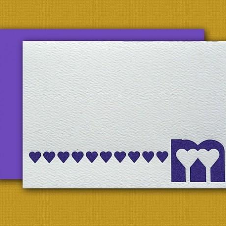 """""""M"""" Monogram Letterpress Note Cards - Sky of Blue Cards - Set of 6 $16"""