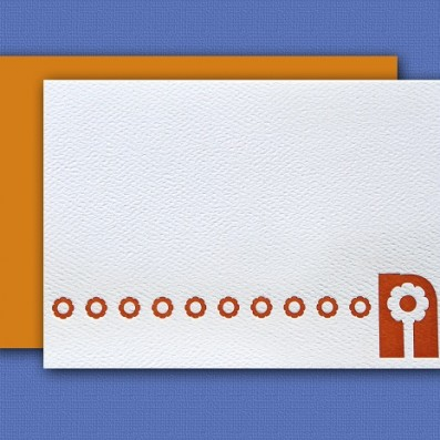 """N"" Monogram Letterpress Blank Note Cards – Sky of Blue Cards – $16 Box Set of 8"