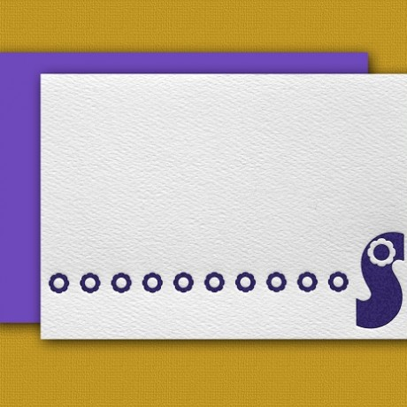 """S"" Monogram Letterpress Blank Note Cards - Sky of Blue Cards - $16 Box Set of 8"