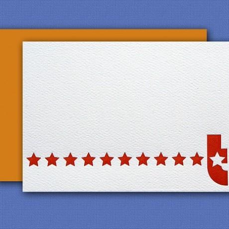 """T"" Monogram Letterpress Blank Note Cards - Sky of Blue Cards - $16 Box Set of 8"