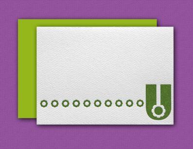 """U"" Monogram Letterpress Blank Note Cards – Sky of Blue Cards – $16 Box Set of 8"