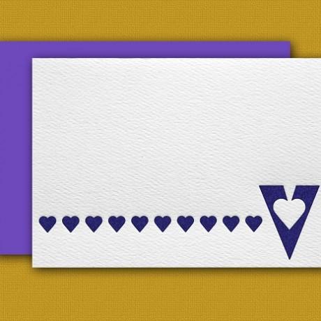 """V"" Monogram Letterpress Blank Note Cards - Sky of Blue Cards - $16 Box Set of 8"