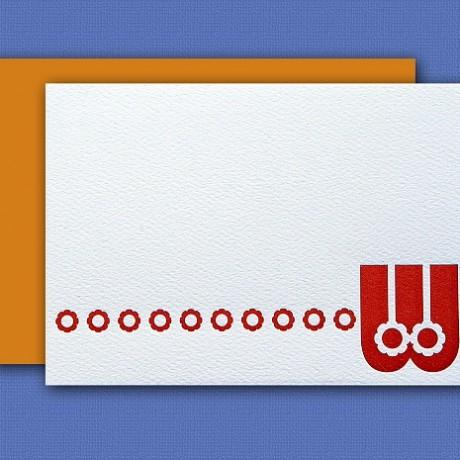 """W"" Monogram Letterpress Blank Note Cards - Sky of Blue Cards - $16 Box Set of 8"