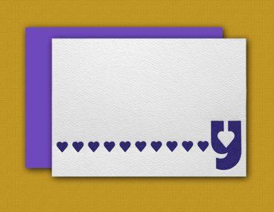 """Y"" Monogram Letterpress Blank Note Cards – Sky of Blue Cards – $16 Box Set of 8"