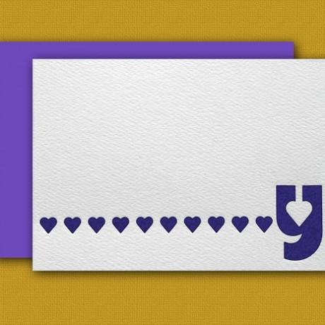 """Y"" Monogram Letterpress Blank Note Cards - Sky of Blue Cards - $16 Box Set of 8"