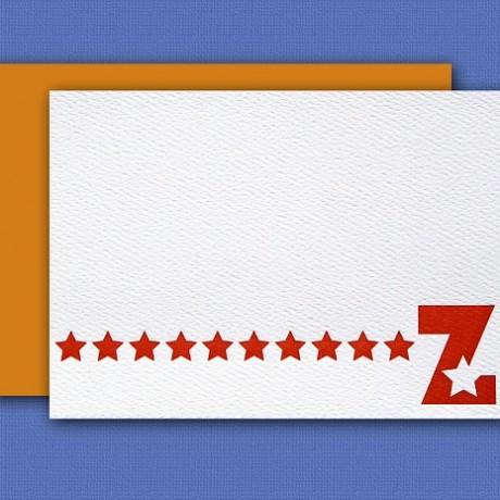 """Z"" Monogram Letterpress Blank Note Cards - Sky of Blue Cards - $16 Box Set of 8"