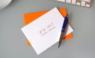 Yay You Thank You Card – Sky of Blue Cards – $4.50 single $18 boxed set of 8