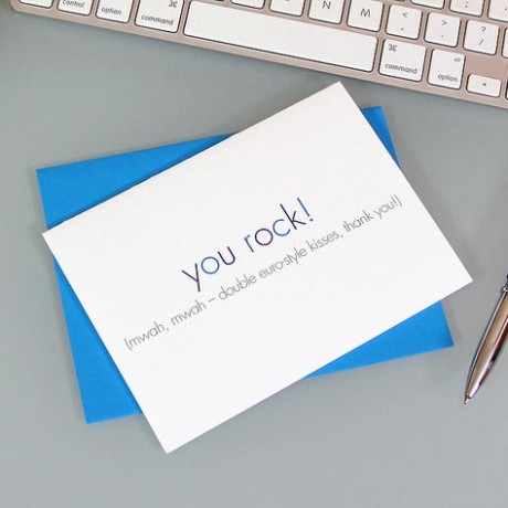 You Rock Thank You Card - Sky of Blue Cards - $4.50 single $18 boxed set of 8