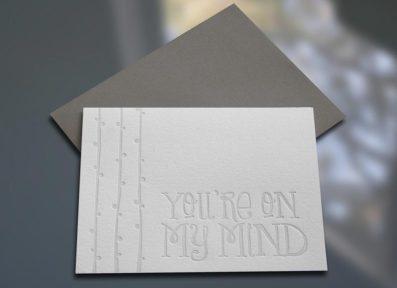 You're On My Mind Letterpress Note Card – Sky of Blue Cards – $4.50