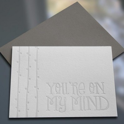 You're On My Mind Letterpress Note Card – Sky of Blue Cards – $4.50