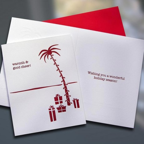 Holiday Palm Tree Letterpress Card - Sky of Blue Cards - $4.50