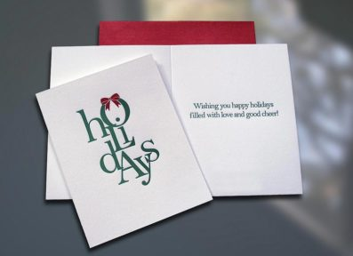 Holidays (Stacked) Letterpress Card – Sky of Blue Cards – $4.50