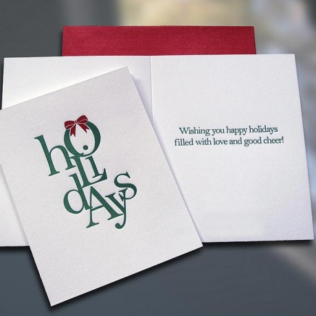 Holidays (Stacked) Letterpress Card - Sky of Blue Cards - $4.50