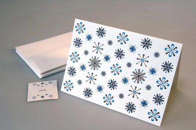 Modern Snowflakes Letterpress Holiday Card – Sky of Blue Cards – $4.50 single $18 boxed set of 8