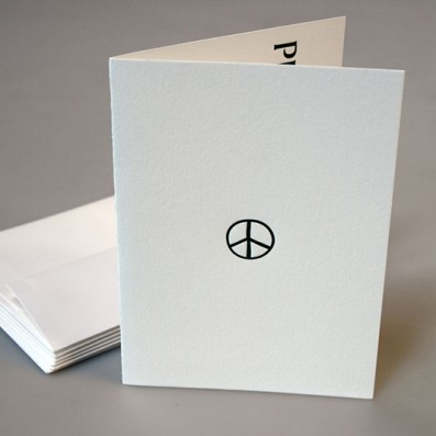 Peace Letterpress Holiday Card – Sky of Blue Cards – $4.50 single $18 boxed set of 8