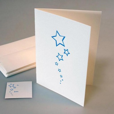 Stars Letterpress Holiday Card – Sky of Blue Cards – $4.50 single $18 boxed set of 8