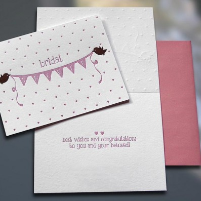 Birdies Bridal Shower Letterpress Card – Sky of Blue Cards – $4.50