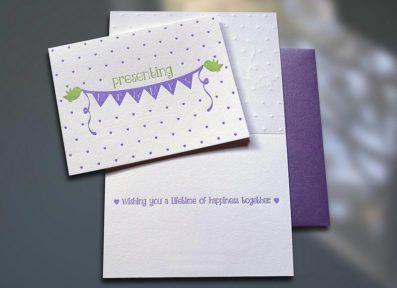 Birdies Mr. & Mrs. Letterpress Wedding Card – Sky of Blue Cards – $4.50