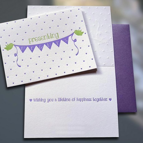 Birdies Mr. & Mrs. Letterpress Wedding Card - Sky of Blue Cards - $4.50