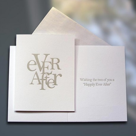 Ever After Stacked Letterpress Wedding Card - Sky of Blue Cards - $4.50 each