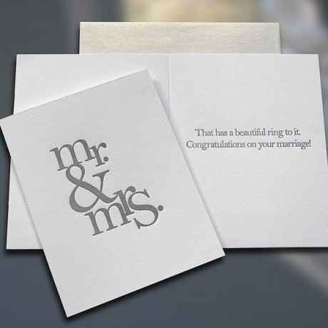 Mr. & Mrs. (Stacked) Letterpress Wedding Card - Sky of Blue Cards - $4.50