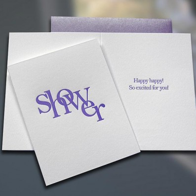 Shower (Stacked) Letterpress Bridal Shower Card – Sky of Blue Cards – $4.50