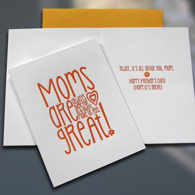 Moms are Great Mother's Day Letterpress Card – Sky of Blue Cards – $4.50