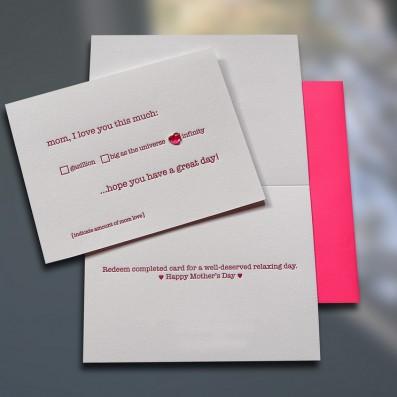 Mom Gazillion w/Sticker Mother's Day Letterpress Card – Sky of Blue Cards – $5.00