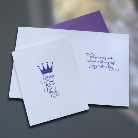 Queen For A Day Mother's Day Card - Sky of Blue Cards - $4.50 each