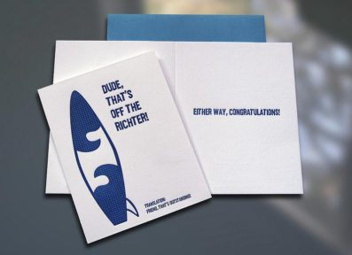 Surfer Translation Richter Letterpress Congratulations Card – Sky of Blue Cards – $4.50
