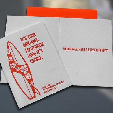 Surfer Translations Stoked Letterpress Card – Sky of Blue Cards – $4.50